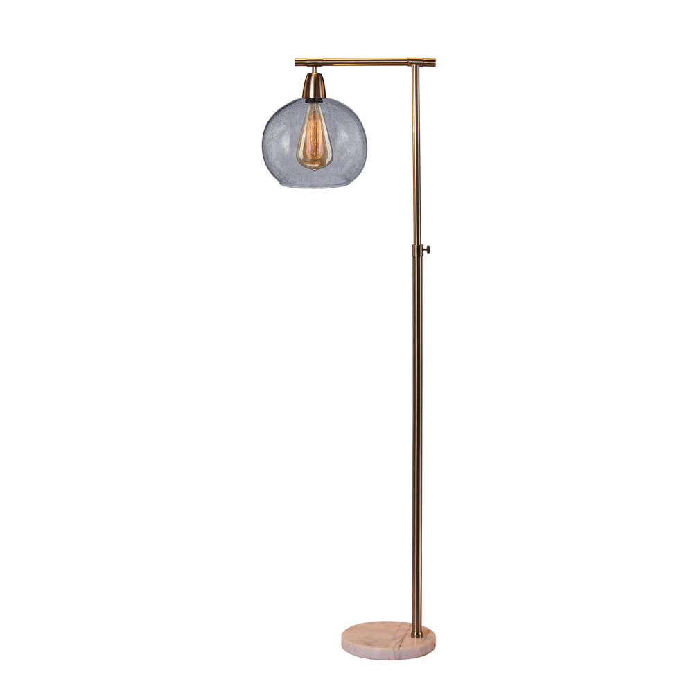 Fangio Lighting 63 in. Down bridge Metal and Glass Floor L& in a Brushed Steel  sc 1 st  The Home Depot & Fangio Lighting 63 in. Down bridge Metal and Glass Floor Lamp in a ... azcodes.com