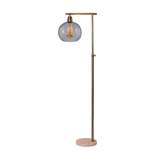 63 in. Down bridge Metal and Glass Floor Lamp in a Brushed Steel & Clear  W/Marble Base