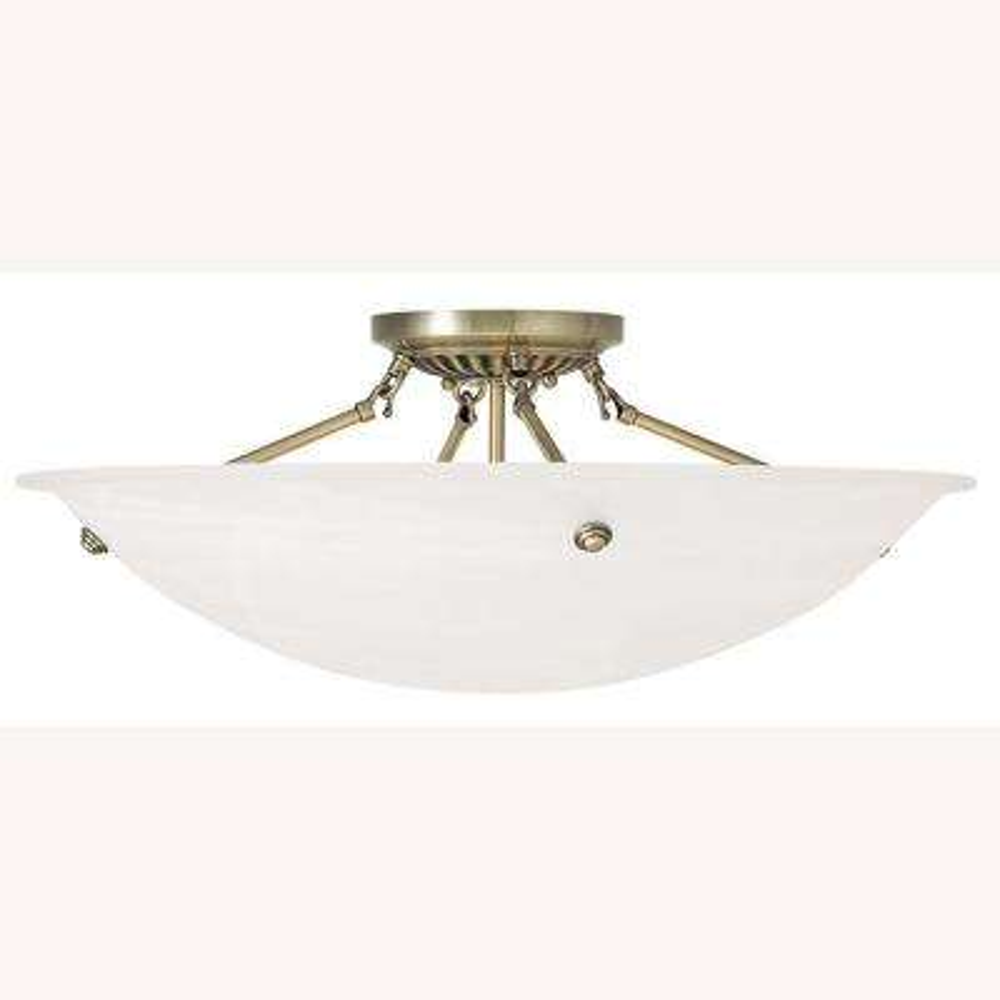 Oasis 4-Light Antique Brass Flushmount