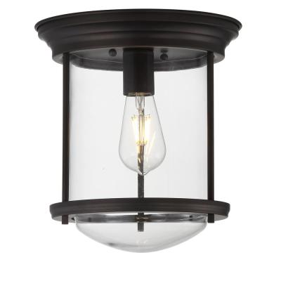 Savannah 10.25 in. Oil Rubbed Bronze Metal/Glass LED Flush Mount