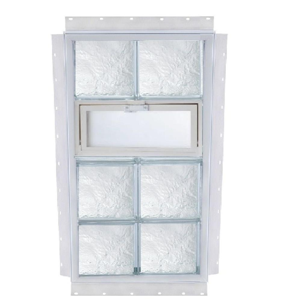 TAFCO WINDOWS NailUp 24 in. x 56 in. x 3-3/4 in. Ice Pattern Vented Glass Block New Construction Window with Vinyl Frame-DISCONTINUED