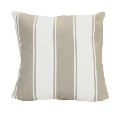 Victoria Beige Striped 18 in. x 5.5 in. Cotton Throw Pillow