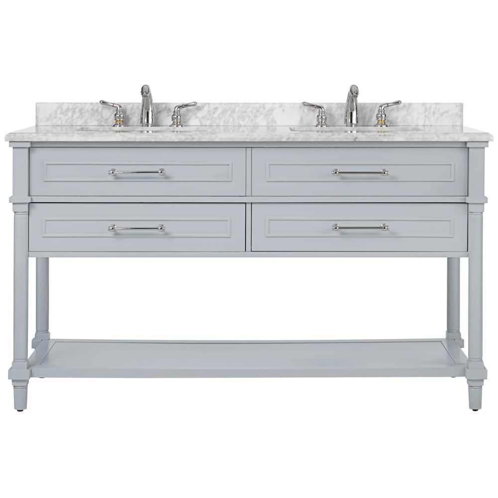 Home Decorators Collection Aberdeen 60 in. W Open Shelf Double Vanity in Dove Grey with Carrara Marble Top  with White Sink s