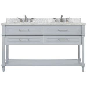 Home Decorators Collection Aberdeen 60 inch W Open Shelf Double Vanity in Dove Grey with Natural Marble Vanity Top in... by Home Decorators Collection