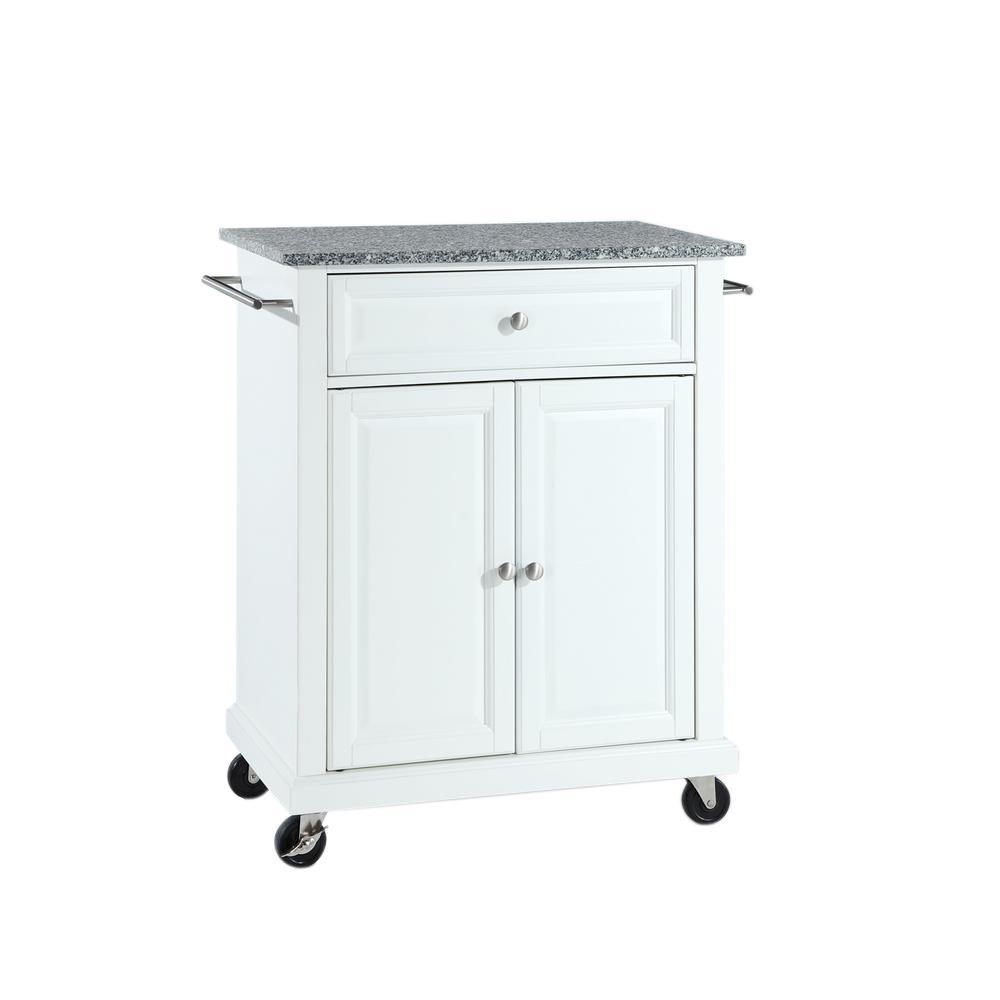 Crosley White Kitchen Cart with Granite Top KF30023EWH - The ...