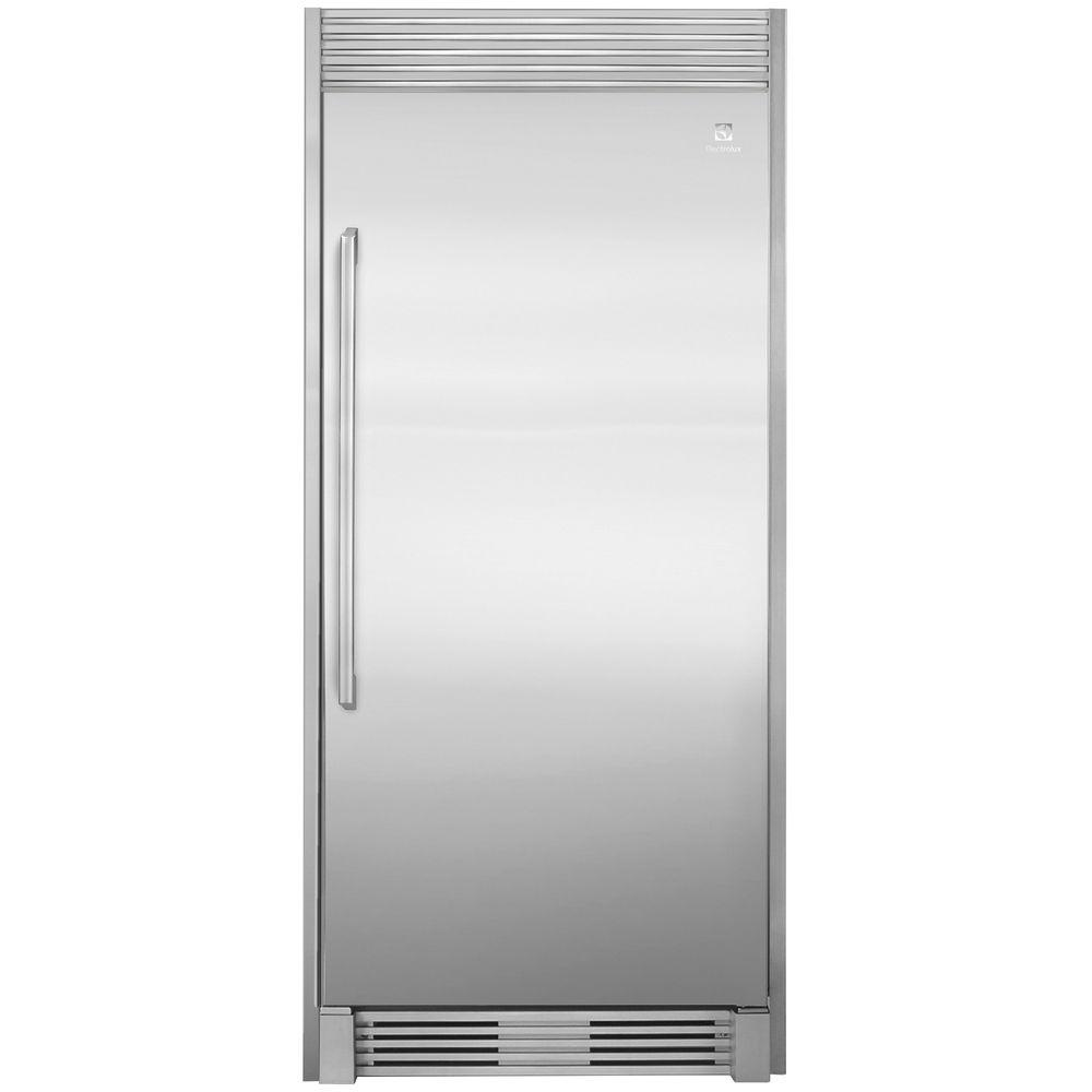 Electrolux 79 in. Single Louvered Trim Kit for All Refrigerator or All Freezer in Stainless Steel A true built-in kitchen design can be accomplished by using the optional Electrolux stainless steel trim kit for the All Refrigerator or All Freezer in new construction, remodeling, or replacing of existing units. The attractive stainless steel finish complements the All-Refrigerator or All-Freezer in a single-unit installation. Install with louver for 79 in. fit or easy-to-remove louver for a 75 in. fitted collar look.