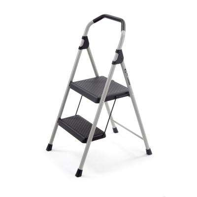 2-Step Lightweight Steel Step Stool Ladder with 225 lb. Load Capacity Type II Duty Rating