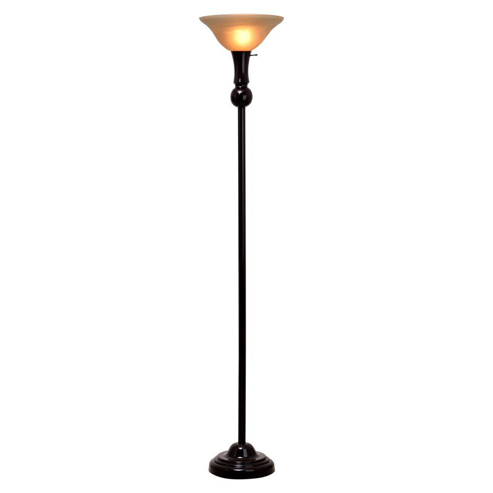 Elegant Bronze Torchiere Floor Lamp With Glass Shade