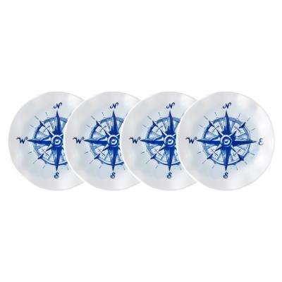 Portsmouth 4-Piece Blue Melamine Appetizer Plate Set