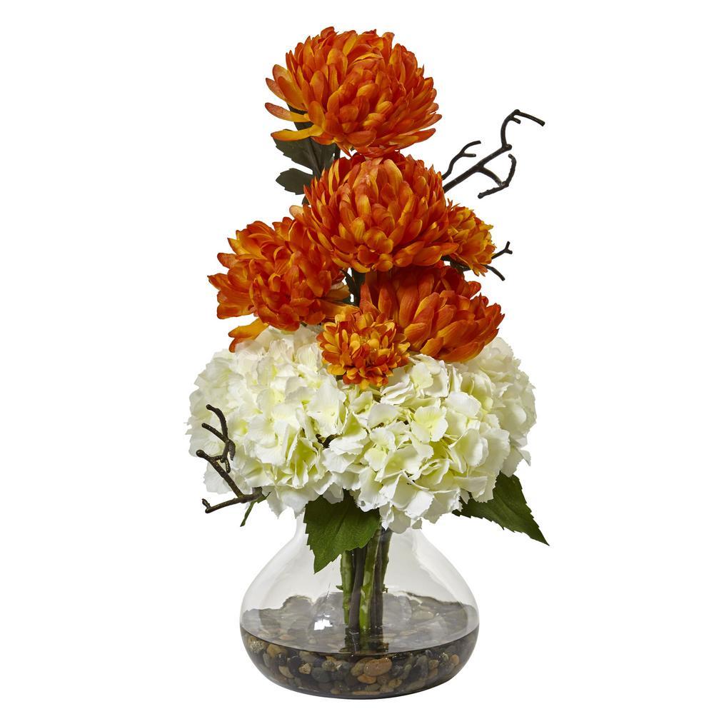 19 in. Hydrangea and Mum in Vase in White and Orange