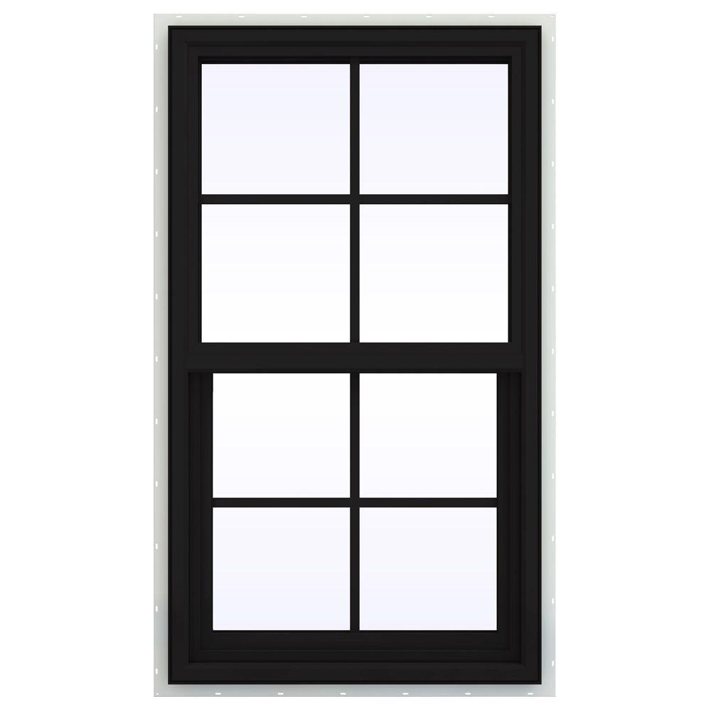 JELD-WEN 23.5 in. x 35.5 in. V-4500 Series Single Hung Vinyl Window with Grids - Black