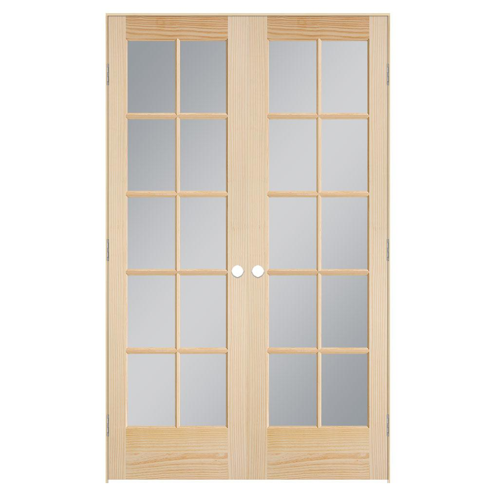 Masonite 48 In X 80 In Smooth 10 Lite Unfinished Pine Prehung Interior French Door 71635 The Home Depot