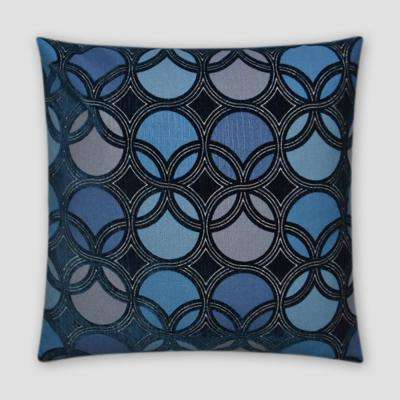 Roundabout Navy Feather Down 18 in. x 18 in. Standard Decorative Throw Pillow