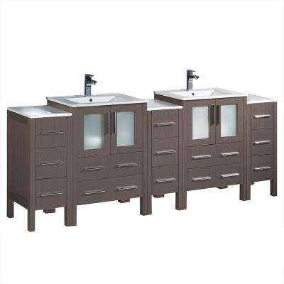 Torino 84 in. Double Vanity in Gray Oak with Ceramic Vanity Top in White with White Basin and Side Cabinets