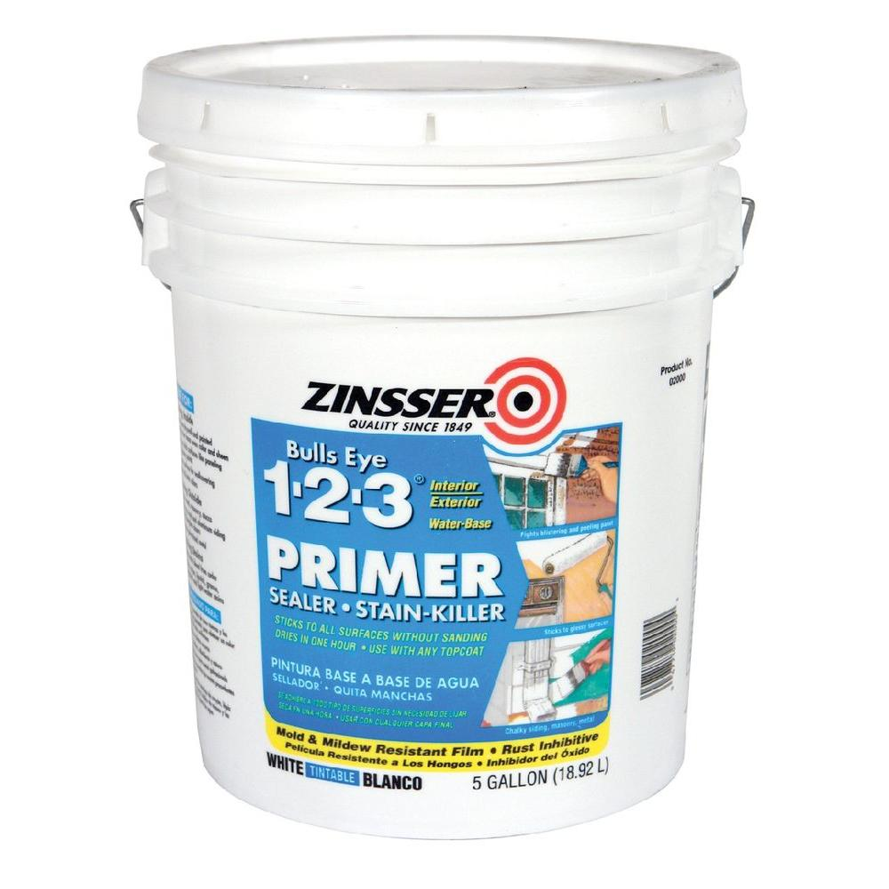 Zinsser Bulls Eye 1-2-3 5 gal. White Water-Based Interior/Exterior Primer and Sealer