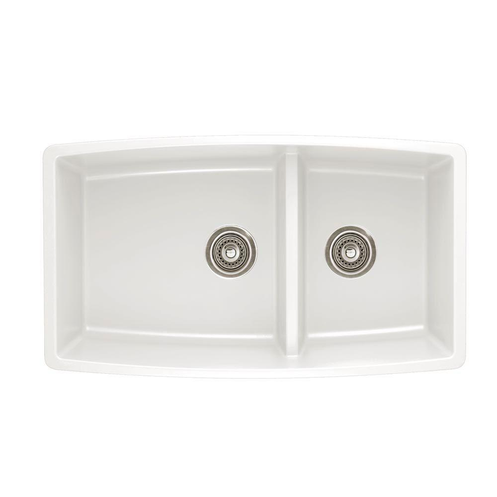 Blanco Performa Undermount Composite 33 in. Double Bowl Kitchen Sink in White