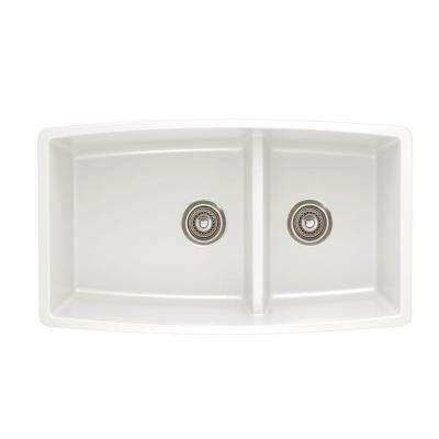Performa Undermount Composite 33 in. Double Bowl Kitchen Sink in White