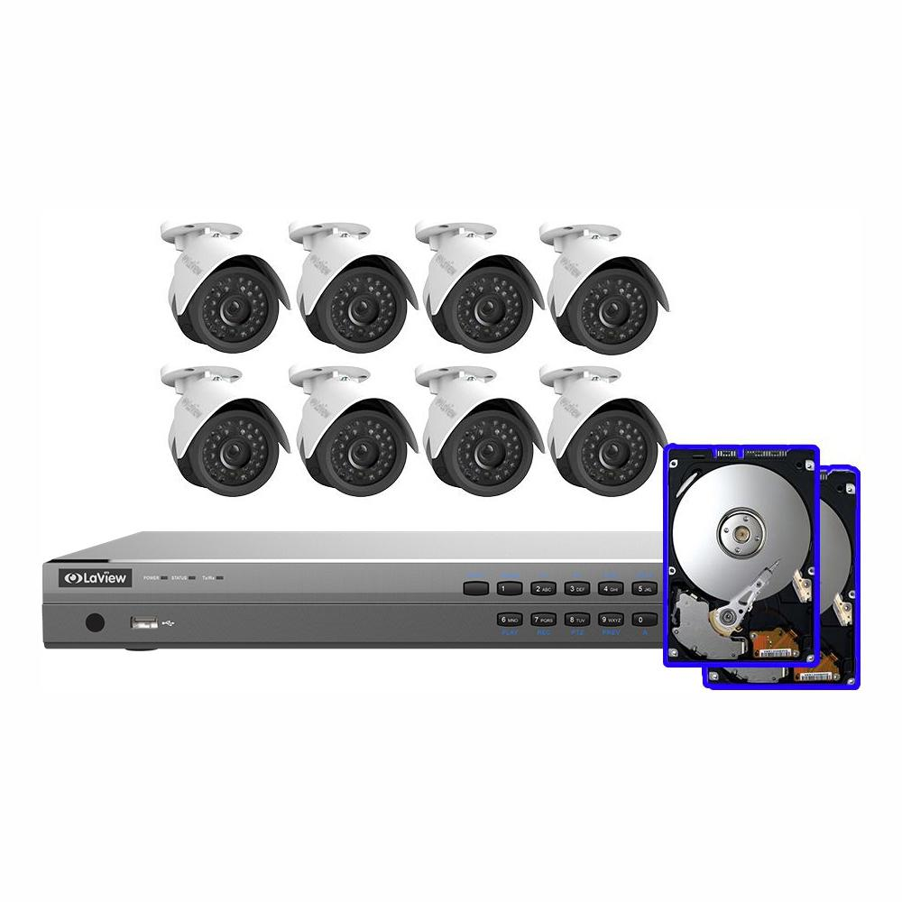 LaView 16-Channel 1080P IP Surveillance 6TB NVR Security System (8) 1080P Wired Indoor/Outdoor Cameras Free Remote View