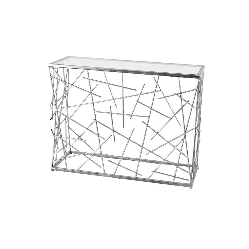 Silver Random Sticks-Designed Rectangular Console Table
