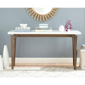 Josef 59 in. White/Dark Brown Standard Rectangle Wood Console Table