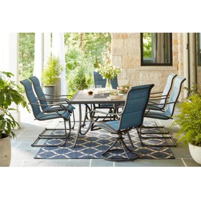 Crestridge Steel Padded Sling C-Spring Outdoor Patio Dining Chair in Conley Denim (2-Pack)