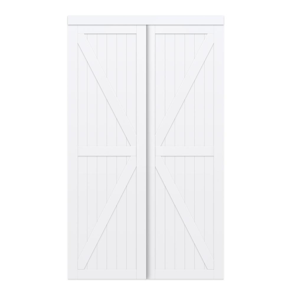 72 in. x 80 in. White Trident MDF Wood Sliding Closet Door