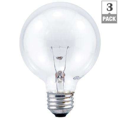 40-Watt G25 GLOBE Double Life Clear Incandescent Light Bulb (3-Pack)