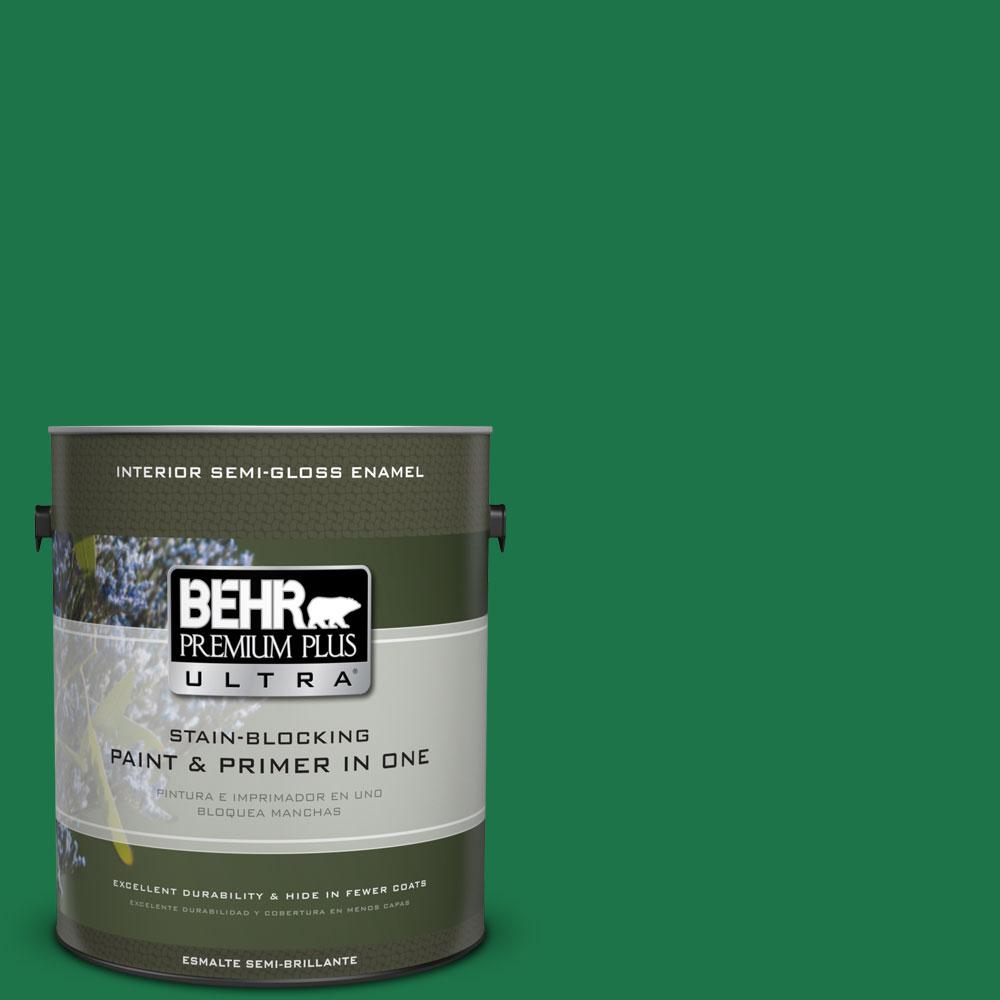 BEHR Premium Plus Ultra 1 gal. #460B-7 Pine Grove Semi-Gloss Enamel Interior Paint and Primer in One