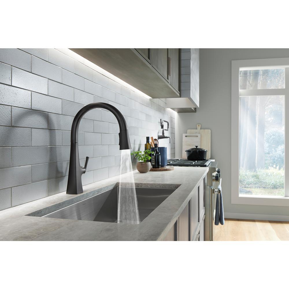 Graze Single-Handle Pull-Down Sprayer Kitchen Faucet with 3-Function Sprayhead in Matte Black