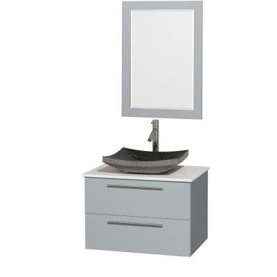 Amare 30 in. W x 20.5 in. D Vanity in Dove Gray with Solid-Surface Vanity Top in White with Black Basin and Mirror