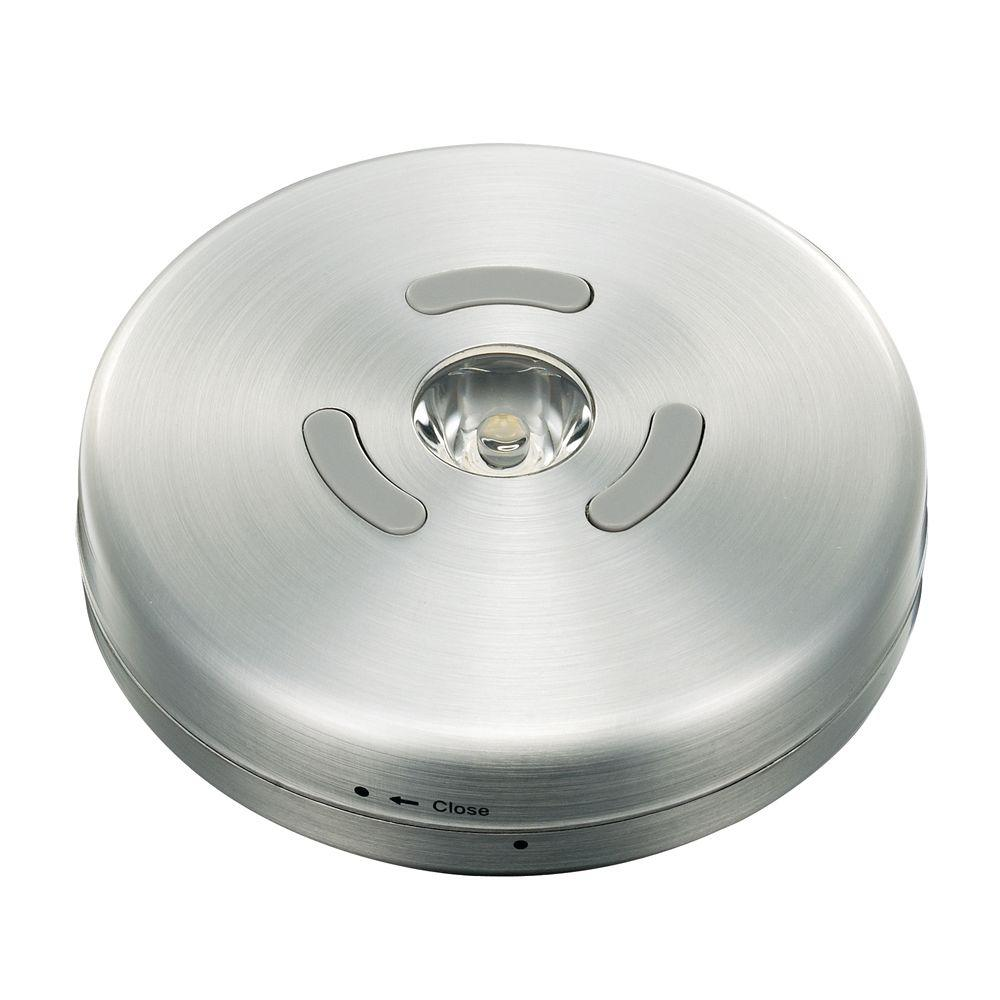 Battery puck lights under cabinet lights the home depot led brushed nickel puck light mozeypictures Choice Image