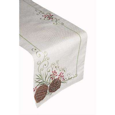Pinecone Border 100% Polyester Table Runner