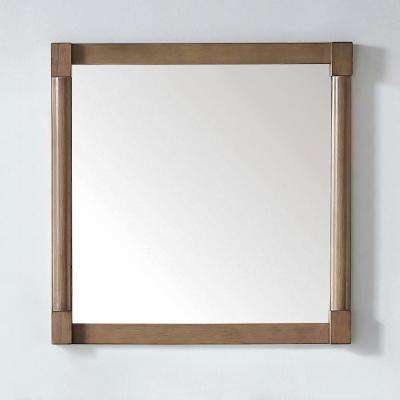 Breton 32 in. x 32 in. Framed Wall Mirror in Almond Toffee