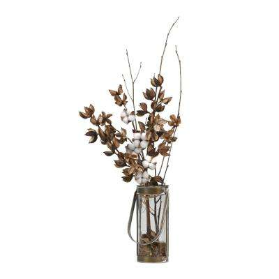 Indoor Cotton Branches in Glass Vase W and Metal Frame and Handle