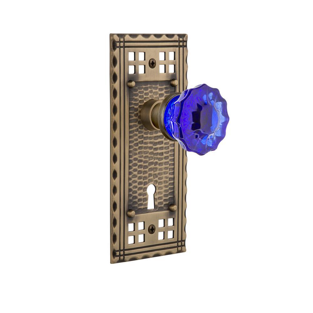 Craftsman Plate with Keyhole 2-3/8 in. Backset Antique Brass Passage Crystal Cobalt Glass Door Knob