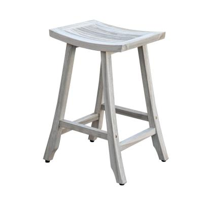Satori 30 in. H Teak Bar Stool in Rustic White