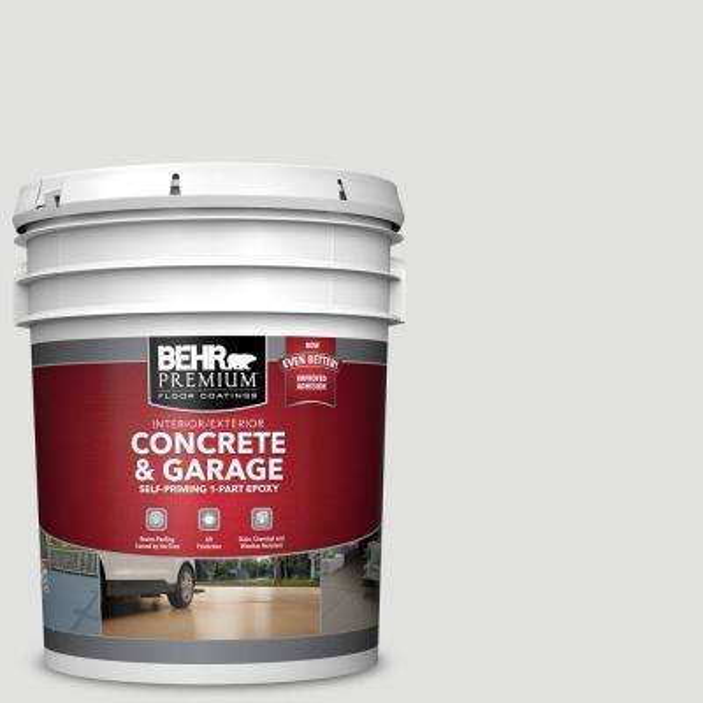 5 gal. #BL-W13 Silver Polish Self-Priming 1-Part Epoxy Satin Interior/Exterior Concrete and Garage Floor Paint