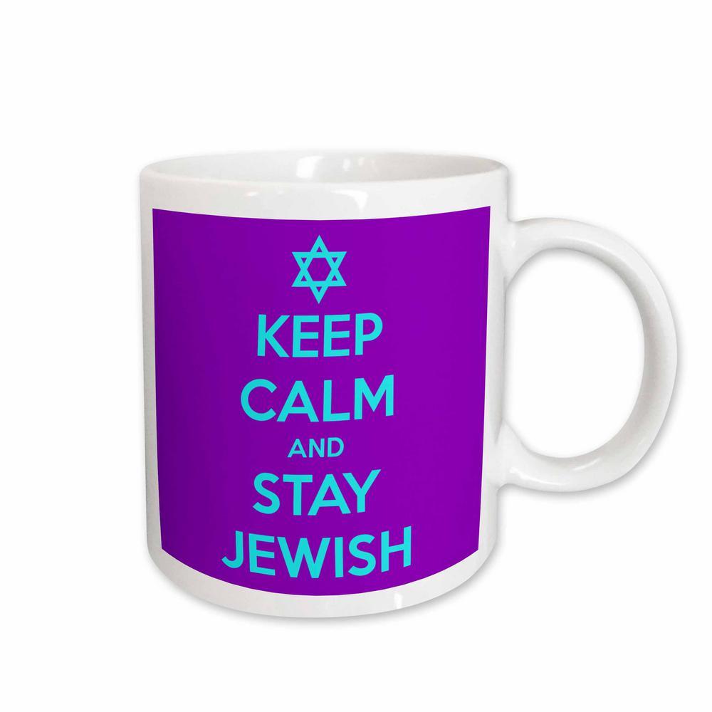 EvaDane - Funny Quotes 11 oz. White Ceramic Coffee Mug, Keep calm and stay Jewish