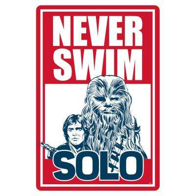 12 in. x 18 in. Star Wars Never Swim Solo Pool Sign