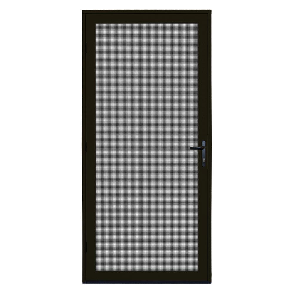 36 in. x 80 in. Bronze Surface Mount Ultimate Security Screen Door with Meshtec Screen