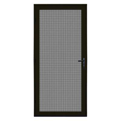 36 in. x 80 in. Bronze Recessed Mount Meshtec Ultimate Screen Door