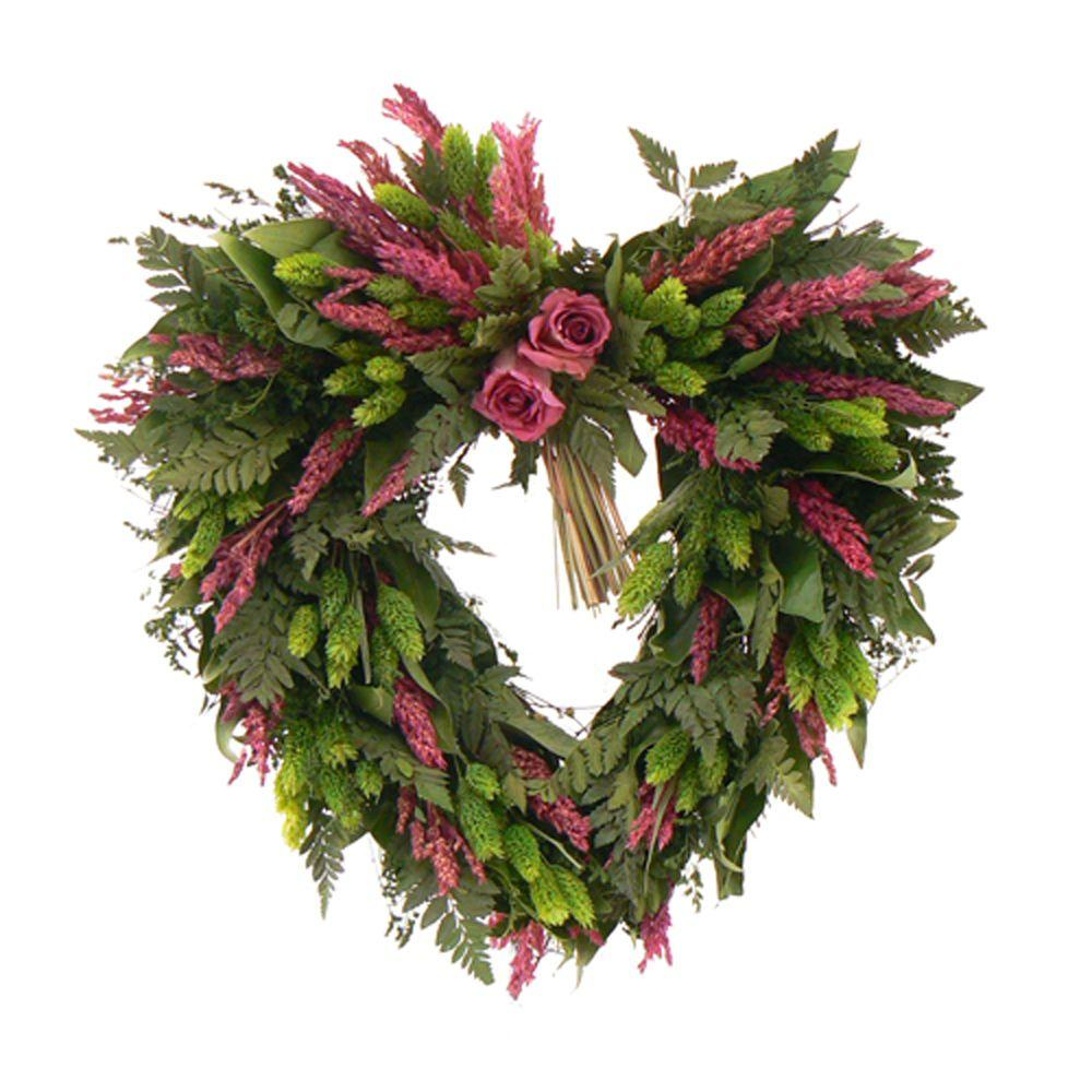 The Christmas Tree Company Love Eternal 17 in. Dried Floral Heart Wreath-DISCONTINUED