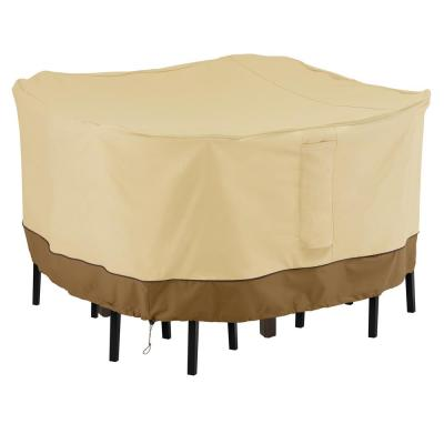Veranda 68 in. L x 68 in. W x 34 in. H Pebble/Bark/Earth Square Bar Table and Chair Set Cover