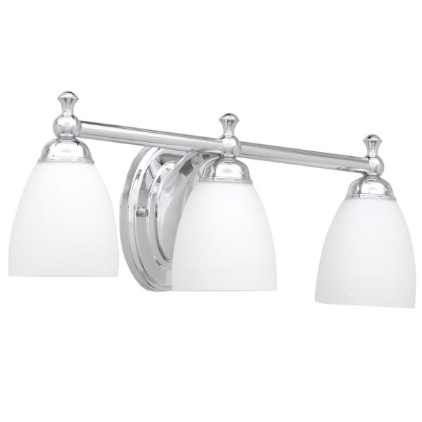 Hampton Bay Solomone 3 Light Polished Chrome Vanity Light With Opal Glass Shades Wall Fixtures Home Garden