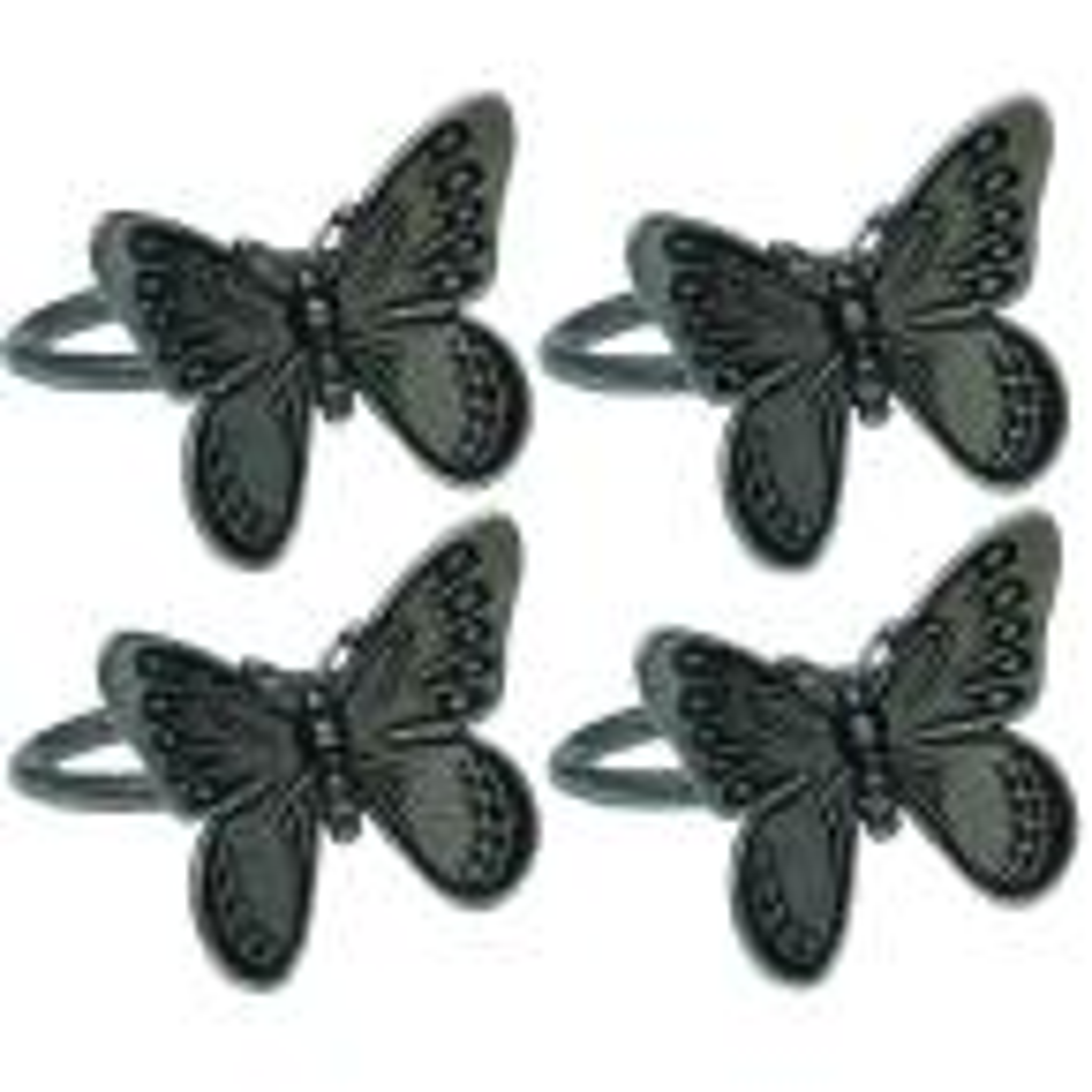 Dark Gray Flutter Spring Butterfly Brass Metal Napkin Rings (Set of 4)