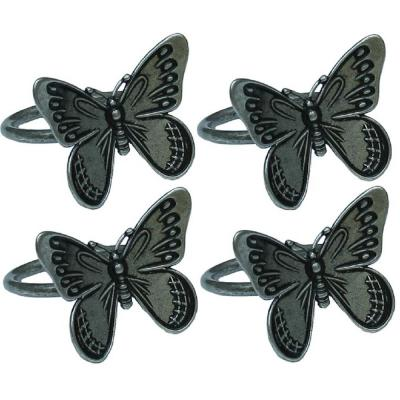 Dark Gray Flutter Spring Butterfly Brass Metal Napkin Rings (Set of 4)