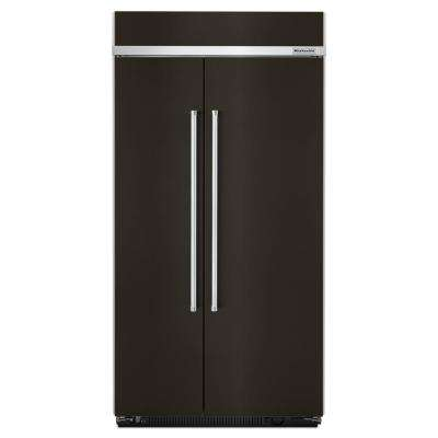 42 in. W 25.5 cu. ft. Built-In Side By Side Refrigerator in Black Stainless
