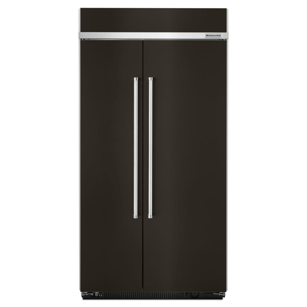 KitchenAid 25.5 cu. ft. Built-In Side By Side Refrigerator in Black  Stainless with PrintShield