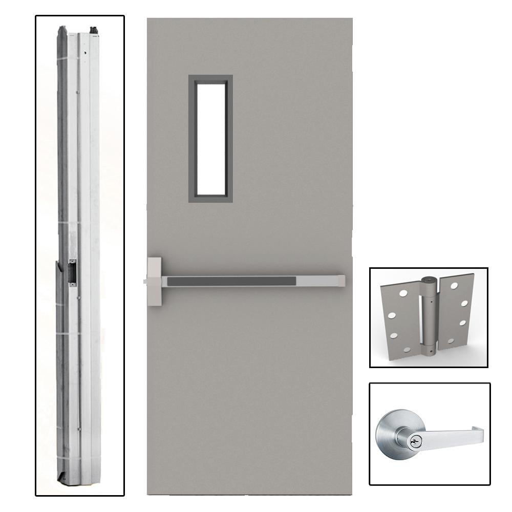 36 in. x 84 in. Gray Flush Exit with 5x20 VL