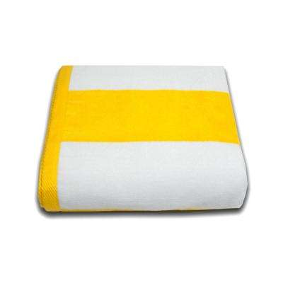 Tropical Cabana 100% Cotton Beach Towel in Yellow